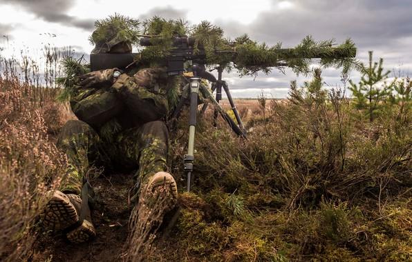 Картинка солдат, маскировка, снайпер, винтовка