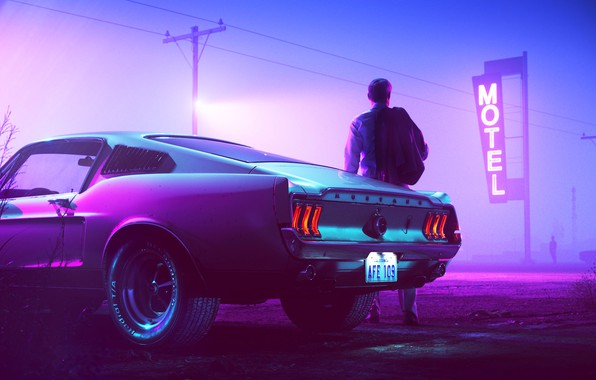 Картинка Mustang, Ford, Авто, Ночь, Неон, Человек, Машина, Фон, Ford Mustang, 1967, Fastback, Mustang GT, Мотель, ...