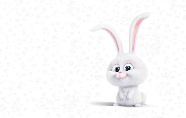 Картинка снег, рендеринг, настроение, праздник, арт, зайчик, снежинка, детская, Новаый год