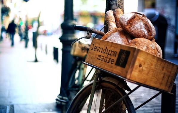 Картинка велосипед, хлеб, боке