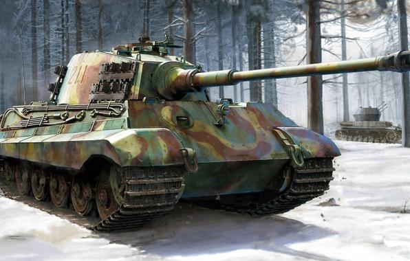 Картинка Königstiger, Тигр II, Короле́вский тигр, Panzerkampfwagen VI, немецкий тяжёлый танк