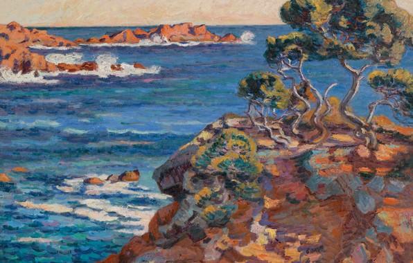 Картинка море, пейзаж, скалы, картина, Арман Гийомен, Armand Guillaumin, Морское Побережье в Аге