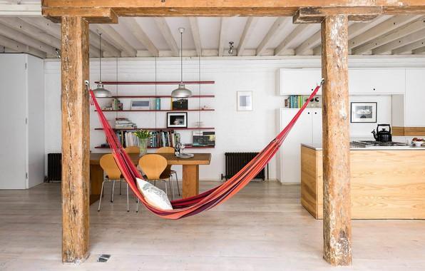 Картинка дизайн, интерьер, гамак, кухня, столовая, Loft Apartment