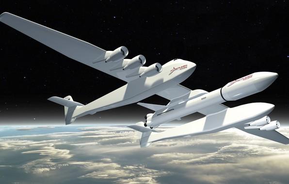 Картинка Небо, Облака, Самолет, Космос, Земля, Ракета, Самолёт, 351, Stratolaunch, Stratolaunch Model 351, Model 351, Американский ...