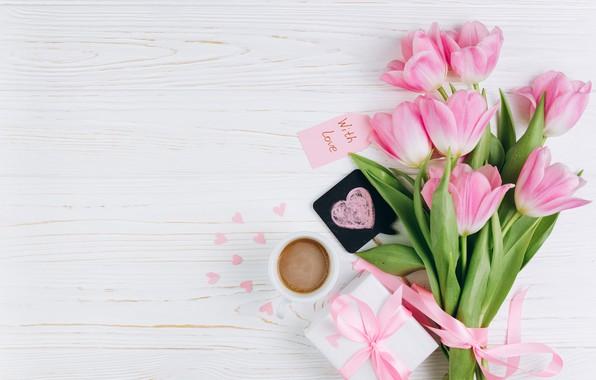 Картинка любовь, цветы, подарок, чашка, сердечки, тюльпаны, love, розовые, fresh, heart, wood, pink, flowers, beautiful, romantic, …