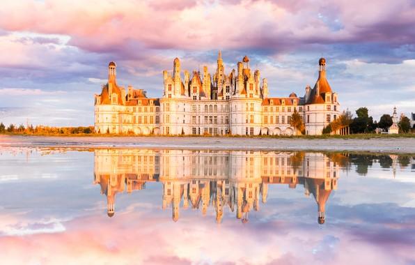 Картинка замок, рекa, облaка, Шато де Шамбор
