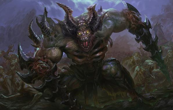 Картинка тьма, армия, демон, рога, art, dota 2, undying