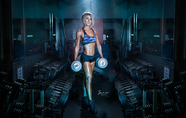 Картинка female, workout, fitness, gym, Gym, dumbbells