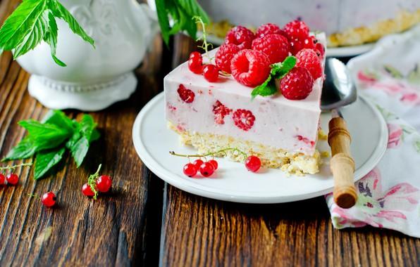 Картинка ягоды, малина, торт, крем, десерт, чизкейк