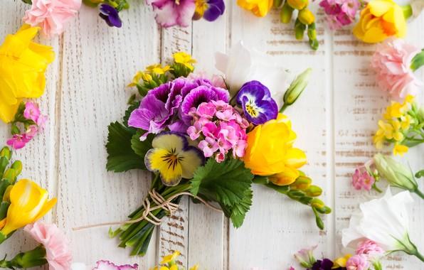Картинка цветы, букет, wood, flowers, beautiful, композиция, frame, floral