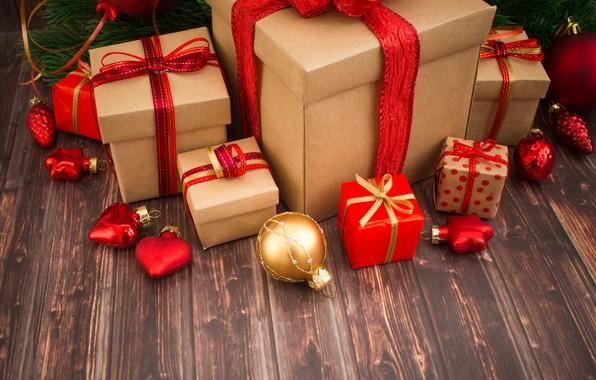 Обои Xmas, Новый Год, подарки, Merry Christmas, украшения, happy, игрушки, gifts, Рождество, holiday celebration, New Year, ...