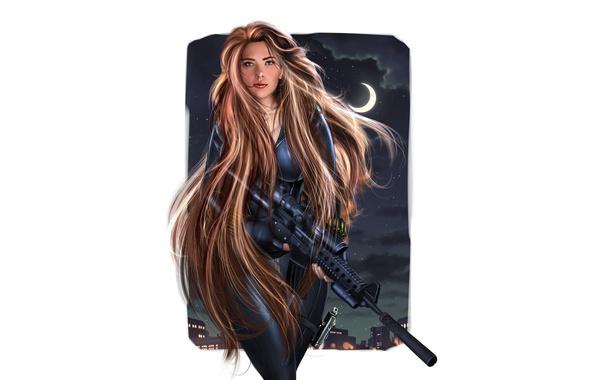 Картинка оружие, рисунок, Scarlett Johansson, арт, костюм, белый фон, Скарлетт Йоханссон, красотка, рыжеволосая, длинные волосы, персонаж, …