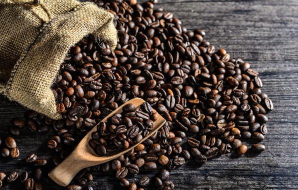 Картинка кофе, ложка, мешок, wood, кофейные зёрна, coffee