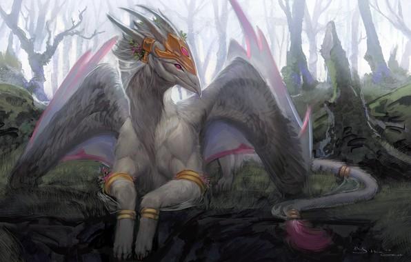 Картинка fantasy, Dragon, wings, digital art, artwork, fantasy art, creature, horn