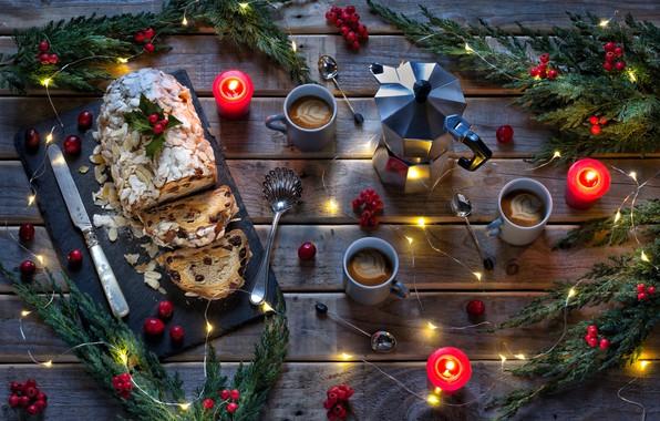 Картинка ветки, ягоды, кофе, свечи, Рождество, Новый год, гирлянды, штоллен