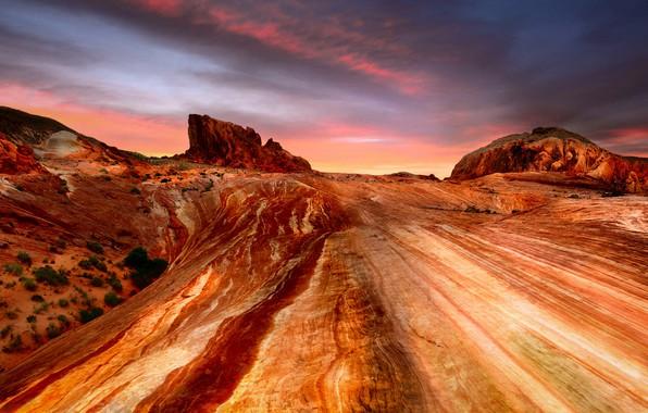 Картинка небо, облака, линии, пейзаж, закат, горы, тучи, природа, скалы, пустыня, США, Америка, Невада, каньоны