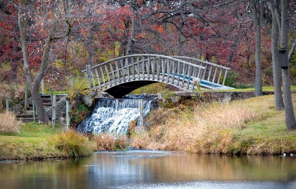 Картинка Водопад, Осень, Nature, Bridge, Autumn, Waterfall, Мостик
