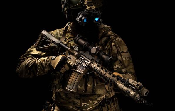 Картинка экипировка, каска, штурмовая винтовка, автомати́ческий караби́н