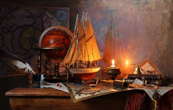 Картинка перо, парусник, свечи, глобус