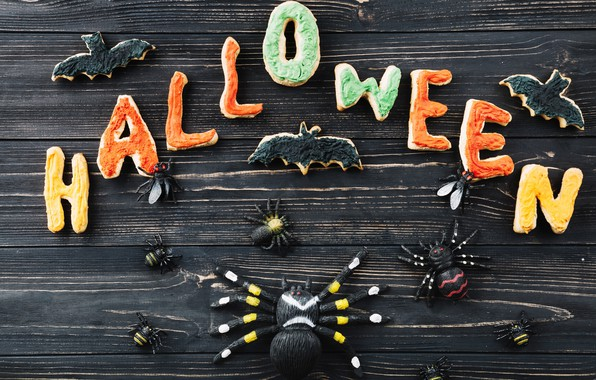 Картинка буквы, праздник, паук, хэллоуин, печеньки
