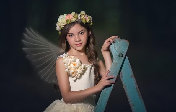 Картинка взгляд, цветы, платье, девочка, крылышки, венок, локоны