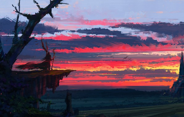 Картинка fantasy, twilight, sky, landscape, sunset, clouds, painting, castle, artist, digital art, artwork, wizard, fantasy art, …
