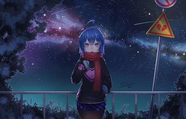 Картинка ночь, аниме, арт, девочка