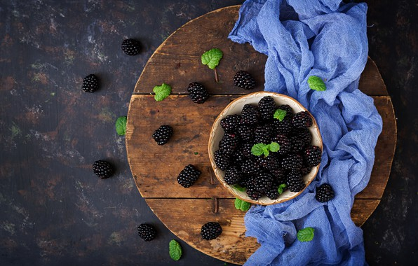 Фото обои ежевика, fresh, blackberry, wood, berries, ягоды