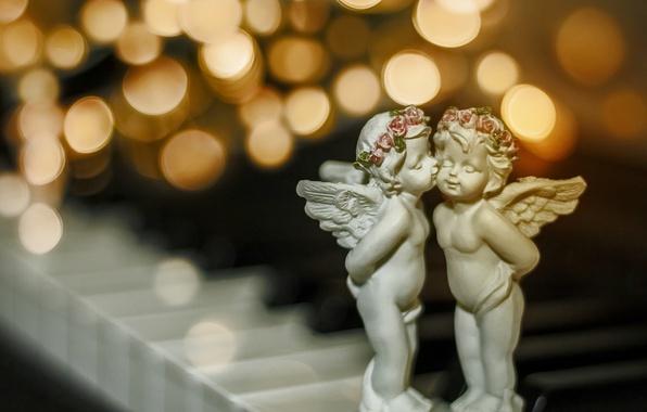 Картинка макро, поцелуй, Рождество, боке, ангелочки