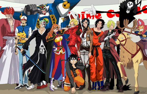 Картинка sword, game, Bleach, Naruto, ghost, Chopper, One Piece, mecha, anime, crossover, ken, blade, ninja, asian, …