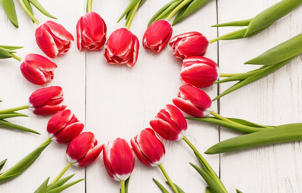 Картинка цветы, сердце, тюльпаны, red, love, heart, wood, romantic, tulips, spring, красные тюльпаны