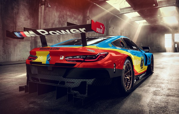 Картинка гоночное авто, вид сзади, 2018, GTE, BMW M8