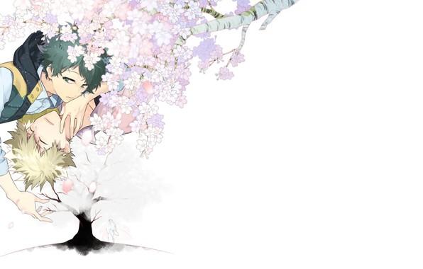 Картинка сакура, арт, двое, Boku no Hero Academia, My Hero Academia, Bakugou Katsuki, Midoriya Izuku