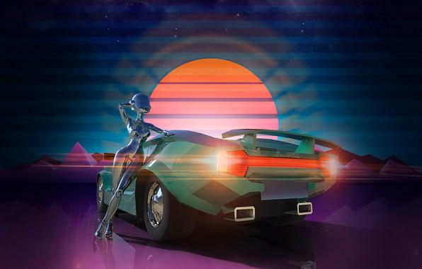 Картинка Солнце, Авто, Музыка, Неон, Машина, Фон, Графика, Рендеринг, Synthpop, Darkwave, Synth, Neon Drive, Retrowave, Synthwave, ...