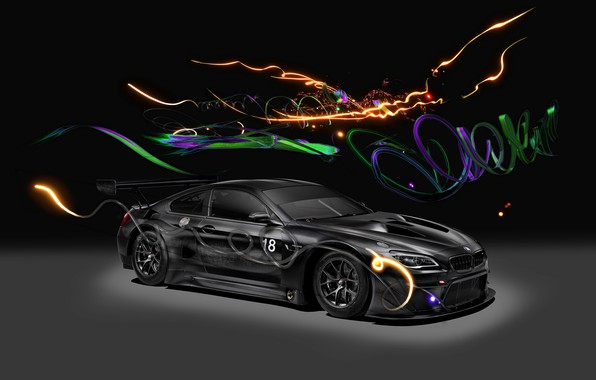 Картинка Авто, Машина, Свет, БМВ, Фон, Car, Автомобиль, Арт, Art, GT3, BMW M6, Немец, 2017, BMW ...