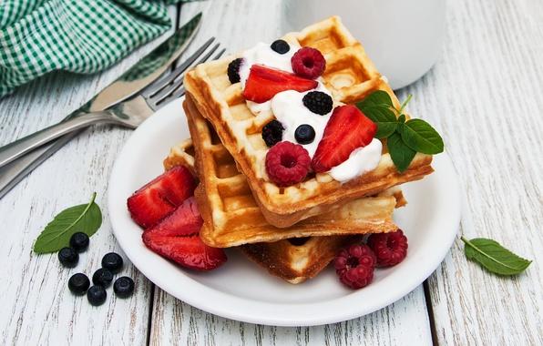 Картинка ягоды, малина, завтрак, черника, клубника, вафли, breakfast, fresh berries
