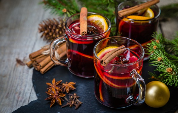 Обои Xmas, Новый Год, merry christmas, глинтвейн, wine, печенье, Рождество, Christmas, orange, cookies, decoration, шишка, punch, ...