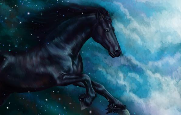 Фото обои сказка, лошадь, акварель, wallpaper., гуашь, звезды облака, небо ночь, живопись, картина painting, лошадка, арт, масло, ...