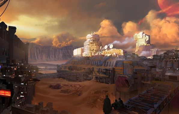 Картинка fantasy, sky, clouds, people, sand, planet, digital art, buildings, artwork, fantasy art, futuristic, sandstorm, cities, ...