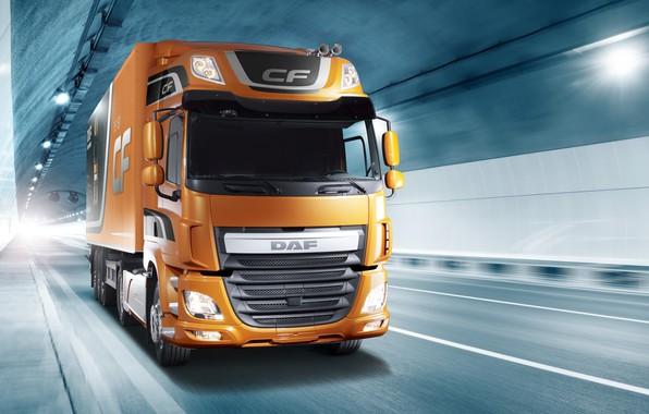 Картинка свет, оранжевый, движение, туннель, DAF, седельный тягач, ДАФ, Space Cab, полуприцеп, 4х2, Euro6, DAF CF …