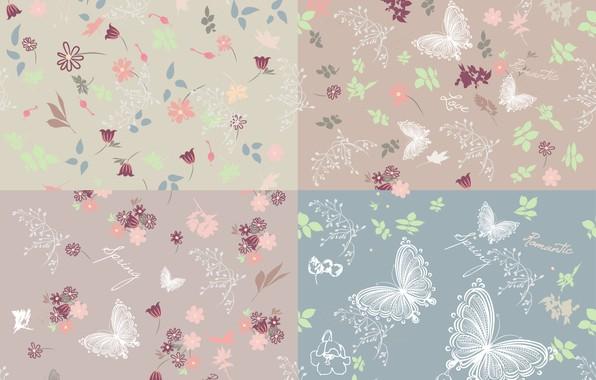 Картинка бабочки, цветы, фон, вектор, текстура, background, pattern, butterflies