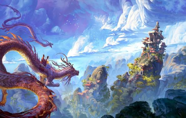 Картинка China, house, fantasy, sky, landscape, nature, clouds, hills, castle, digital art, artwork, fantasy art, pagoda, …