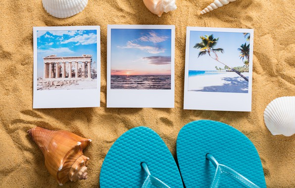 Картинка песок, пляж, лето, отдых, ракушки, summer, beach, каникулы, sand, сланцы, vacation, starfish, travel, seashells