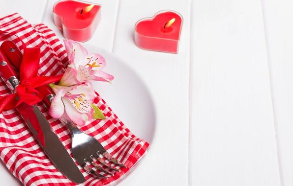 Картинка цветы, свечи, нож, сердечки, red, вилка, flowers, romantic, hearts, Valentine's Day, candles