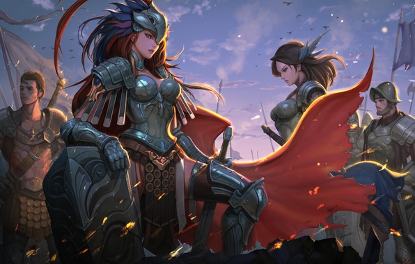Обои Girl, Sword, Fantasy, Soldier, Armor, Warrior