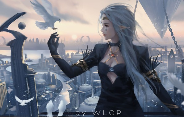 Картинка city, girl, fantasy, long hair, dress, birds, tattoo, elf, digital art, dove, buildings, artwork, princess, …