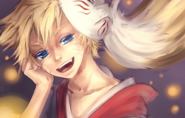 Картинка улыбка, рука, мальчик, маска, голубые глаза, Наруто, Naruto, озорник, Naruto Uzumaki