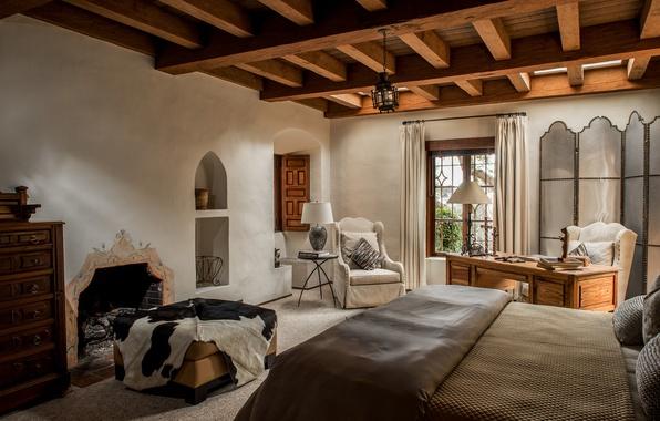Фото обои камин, кровать, кресло, потолок, спальня, стол