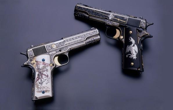 Картинка пистолет, оружие, gun, pistol, weapon, кастом, M1911, 1911, Custom, М1911, engraving, Гравировка