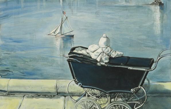 Картинка Париж, коляска, кораблик, ребёнок, 1954, Tsuguharu Foujita, Пруд в Люксембургском саду